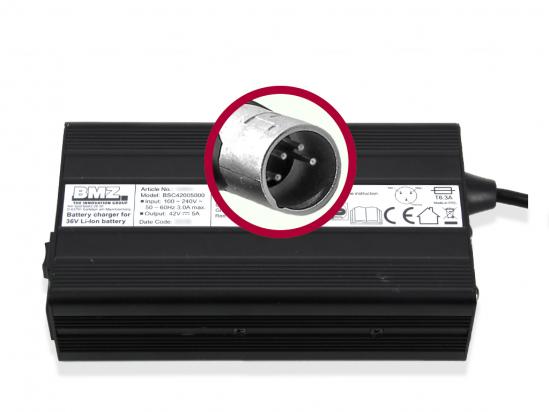 Charger BMZ Li-Ion 42V 5A plug XLR 4-pole 24881-7
